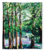 View Of Woodside Lake Fleece Blanket