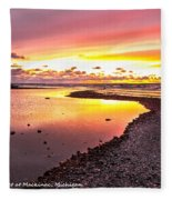 View Opposite Of Mackinac Bridge From Mcgulpin Point At Sunset. Fleece Blanket