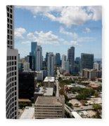 View Over Brickell Miami Fleece Blanket