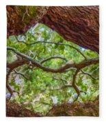 View Through Angel Oak Tree Fleece Blanket