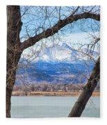 View Through The Trees To Longs Peak Fleece Blanket