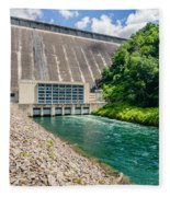 Views Of Man Made Dam At Lake Fontana Great Smoky Mountains Nc Fleece Blanket