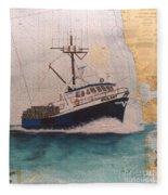 Vigilant Crab Fishing Boat Nautical Chart Art Fleece Blanket