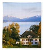 Villa At The Waterfront, Lake Zurich Fleece Blanket
