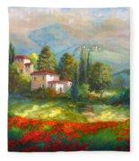 Village With Poppy Fields  Fleece Blanket