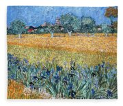Field With Flowers Near Arles Fleece Blanket