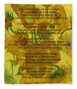 Vincent's Sunflower Song Fleece Blanket