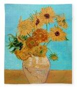 Vincent's Sunflowers Fleece Blanket