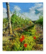 Vineyard And Poppies Fleece Blanket