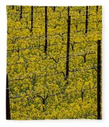 Vineyards Full Of Mustard Grass Fleece Blanket