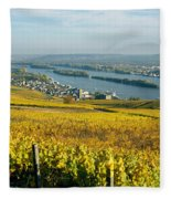 Vineyards Near A Town, Rudesheim Fleece Blanket