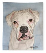 Vinnie The White Boxer Fleece Blanket