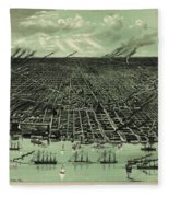 Vintage 1889 Detroit Michigan Map Fleece Blanket
