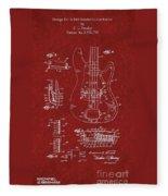 Vintage 1961 Fender Guitar Patent Fleece Blanket
