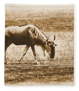 Vintage African Safari Wildbeest Fleece Blanket