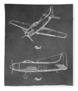 Vintage Airplane Patent Fleece Blanket