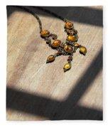 Vintage Amber Necklace Fleece Blanket