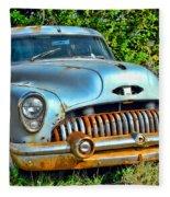 Vintage American Car In Yard Fleece Blanket