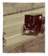 Vintage Amish Buggy And Bicycle Fleece Blanket