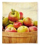 Vintage Apple Basket Fleece Blanket