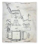 Vintage Barber Chair Patent Fleece Blanket