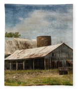 Barn -vintage Barn With Brick Silo - Luther Fine Art Fleece Blanket