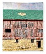 Vintage Barn - Wood And Stone Fleece Blanket