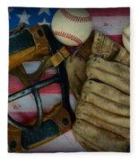 Vintage Baseball American Folk Art Fleece Blanket