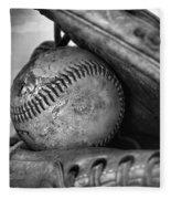 Vintage Baseball And Glove Fleece Blanket