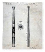 Vintage Baseball Bat Patent Fleece Blanket