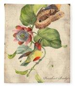 Vintage Bird Study-b Fleece Blanket