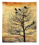 Vintage Blackbirds On A Winter Tree Fleece Blanket