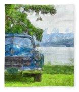 Vintage Blue Caddy At Lake George New York Fleece Blanket