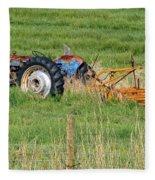Vintage Blue Tractor Fleece Blanket