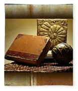 Vintage Book Fossil And Carved Orb Fleece Blanket