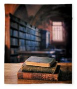 Vintage Books And Glasses In An Old Library Fleece Blanket