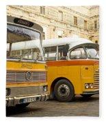 Vintage British Buses In Valetta Malta Fleece Blanket
