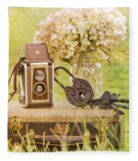 Vintage Camera And Case Fleece Blanket