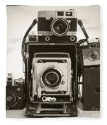 Vintage Cameras Fleece Blanket