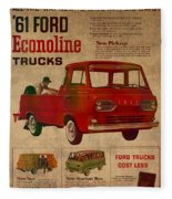 Vintage Car Advertisement 1961 Ford Econoline Truck Ad Poster On Worn Faded Paper Fleece Blanket