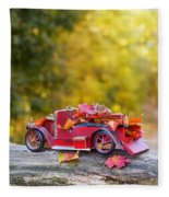Vintage Car With Autumn Leaves Fleece Blanket