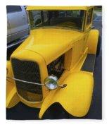 Vintage Car Yellow Fleece Blanket