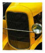 Vintage Car Yellow Detail Fleece Blanket