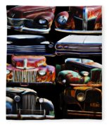Vintage Cars Collage 2 Fleece Blanket