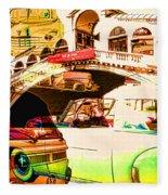 Vintage Cars Collage Fleece Blanket