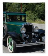 Vintage Cars Green Chevrolet Fleece Blanket
