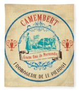 Vintage Cheese Label 3 Fleece Blanket by Debbie DeWitt