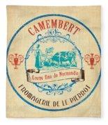Vintage Cheese Label 3 Fleece Blanket