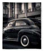 Vintage Chevrolet In 1934 New York City Fleece Blanket