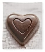 Vintage Chocolate Heart Fleece Blanket